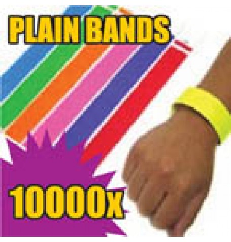 10,000 x 19mm Plain Tyvek Wristbands (Solid Colours)
