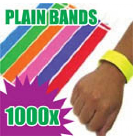 1,000 x 19mm Plain Tyvek Wristbands (Solid Colours)