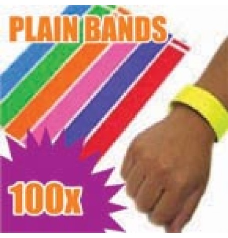 100 x 19mm Plain Tyvek Wristbands (Solid Colours)