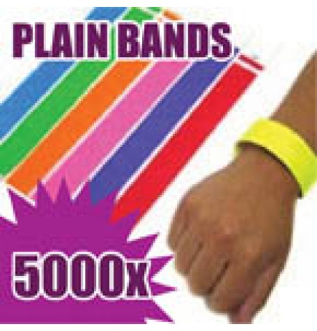 5,000 x 19mm Plain Tyvek Wristbands (Solid Colours)