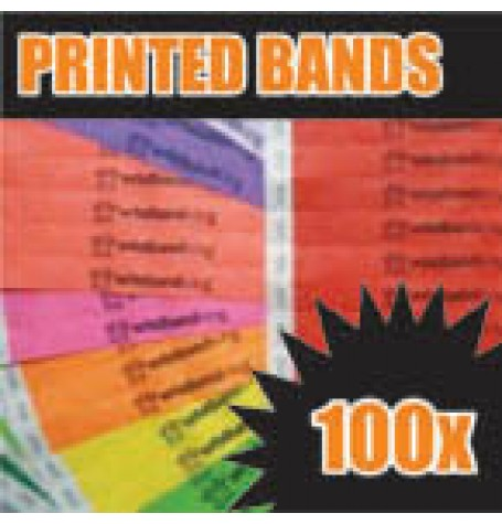 100 x 19mm Custom Printed Tyvek Wristbands